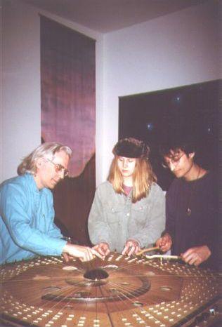 Robin Armstrong, Lisa Swarbrick and Michael Moon on the Celestial Harp, St Nicholas St studio