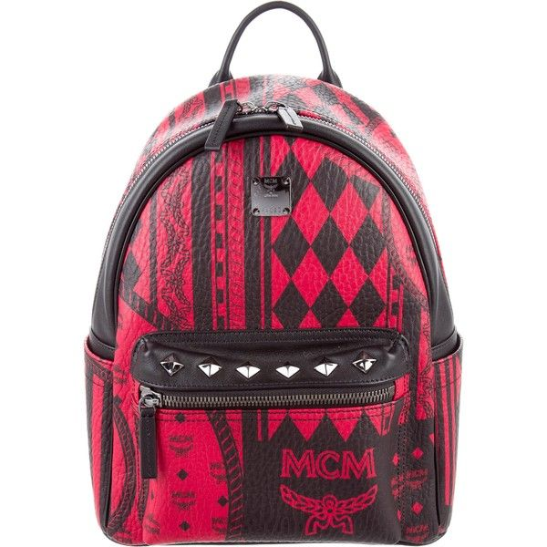 Pre-owned MCM Small Stark Baroque Print Munich Backpack ($625) ❤ liked on Polyvore featuring bags, backpacks, black, flat backpack, top handle bags, monogrammed backpacks, pre owned bags and mcm rucksack