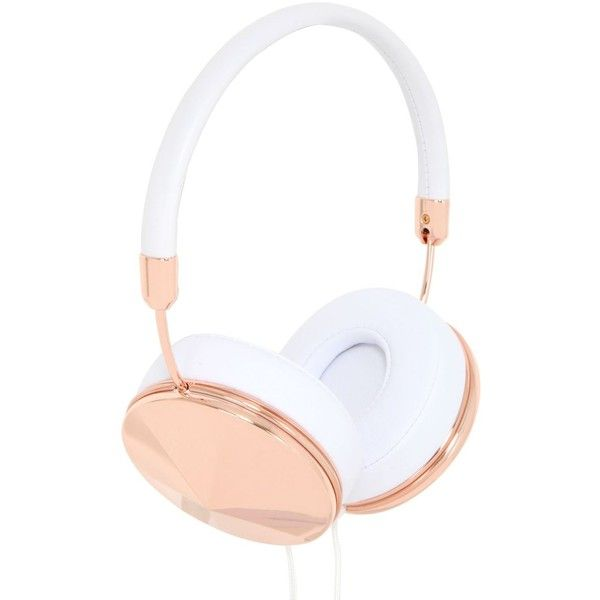 FRENDS The Taylor White Headphones - White/Rose found on Polyvore featuring accessories, tech accessories, headphones, tech, white headphones and frends headphones