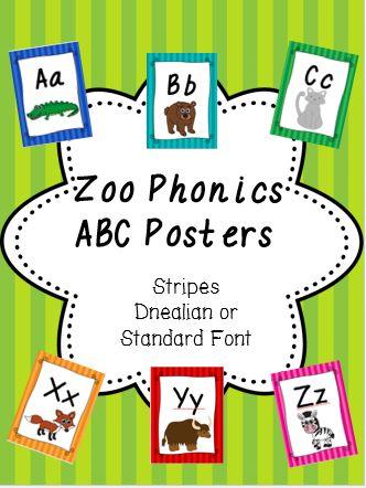 Zoo Phonics Posters- Stripe Design- Dnealian or Standard Font