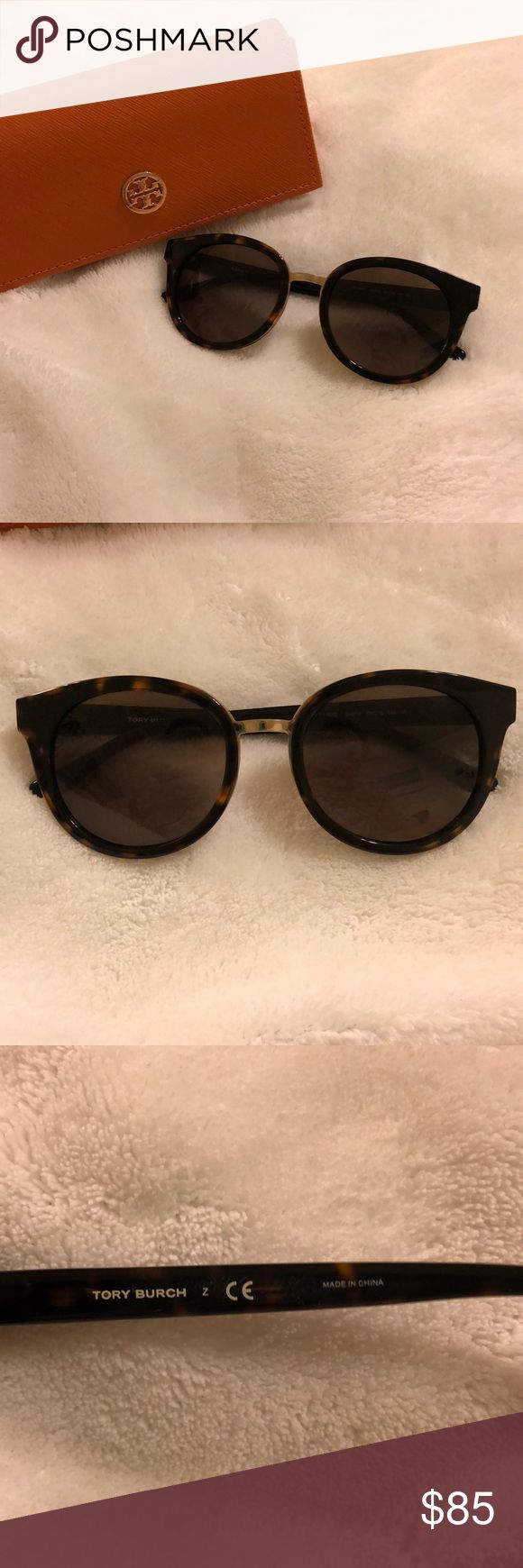 Tory Burch tortoise sunglasses Round / cat eye tortoise Tory Burch sunglasses 2016 line  Worn three or four times Come with bag and case Like new Tory Burch Accessories Sunglasses
