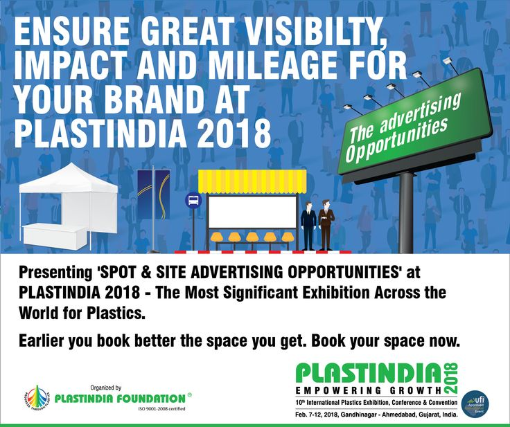 'SPOT & SITE ADVERTISING OPPORTUNITIES' at #PlastIndia2018, online bookings from 3rd Oct, 2017.  #Plastic #Industry #Exhibition #Advertising #Booking