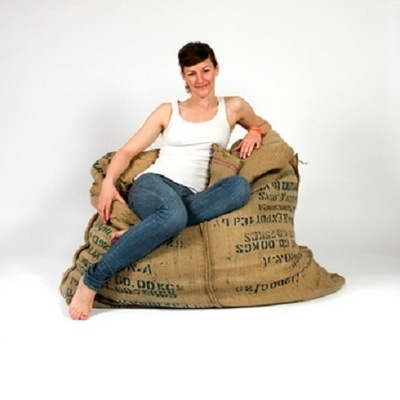 Coffee Bean Bag Chair Made From Eight Recycled Sacks With Original Prints