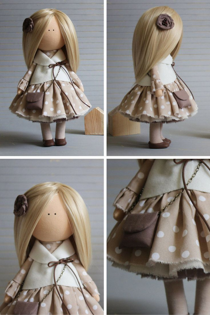Rag doll blonde grey colors Handmade doll by AnnKirillartPlace