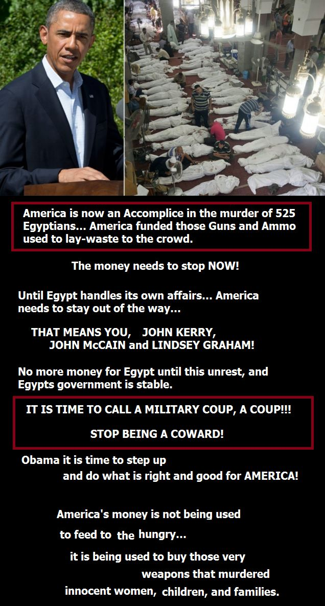 Time to call a Military Coup, a Coup!!! America has been made an accomplice to the murder of 525 Egyptian...because her government refuses to stop the money going to Egypt...which is being used to arm the military....not feed the starving. STOP THE MONEY NOW!!!