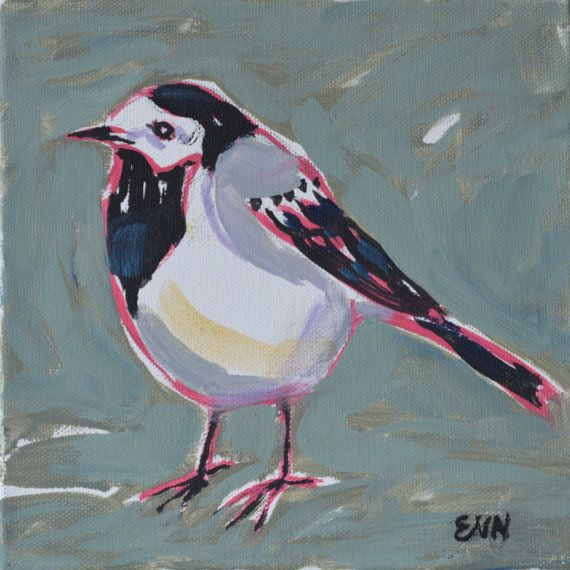 Original bird oil painting / birds / Wagtail / by NielsenDenmark