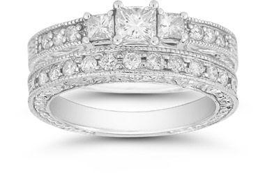 "1.36 Carat Three Stone Princess Cut ""Floret"" Bridal Set"