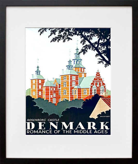 Airline Art Travel Poster Denmark Tourism Print (TR29)  8x10 Print Is Only $8.99 // via etsy.com