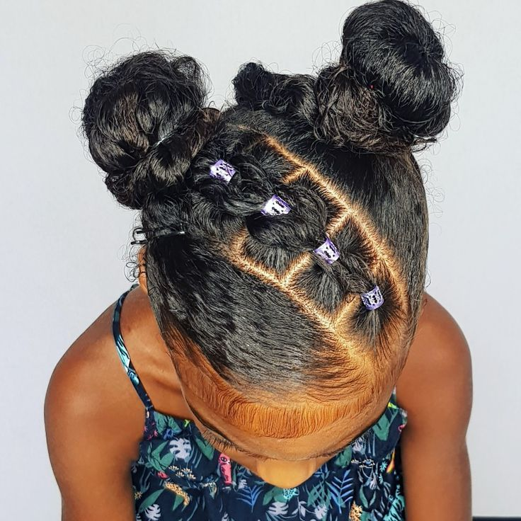Buns with pull through braids, Hairstyle for curly little
