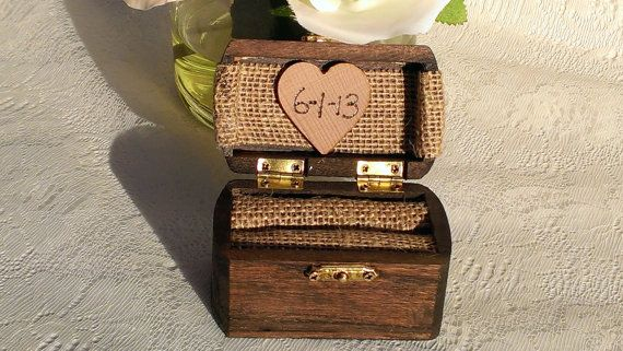 rustic wedding ring box burlap wedding wooden by RedHeartCreations