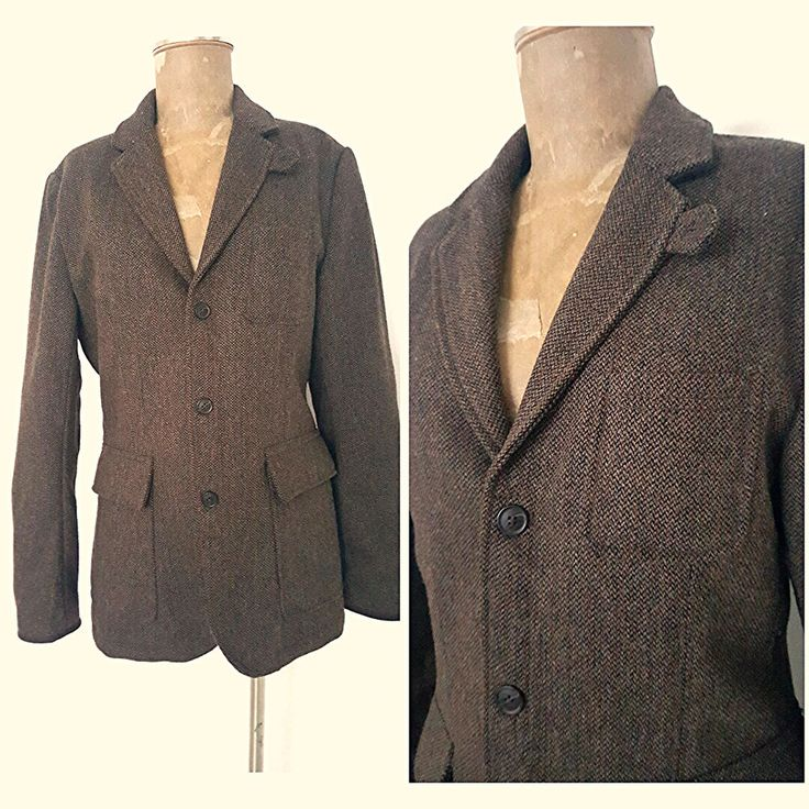 H&M Elbow Patch Blazer Size Medium Brown Wool Suit Coat Jacket Mens Three Button #HM #Blazer