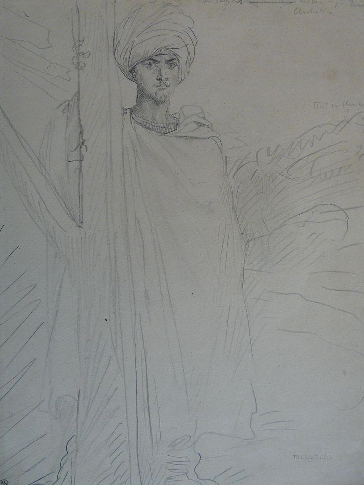 CHASSERIAU Théodore,1846 - Arabe coiffé d'un Turban, debout contre un Arbre - drawing - Détail 14