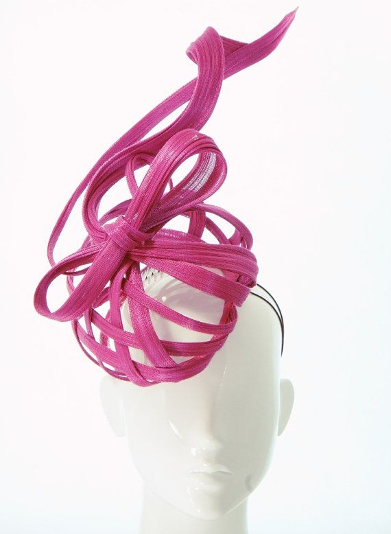 Magenta Ribbons Hat  Spring Racing by BonnieEvelynMilliner on Etsy French Abaca, Jinsin