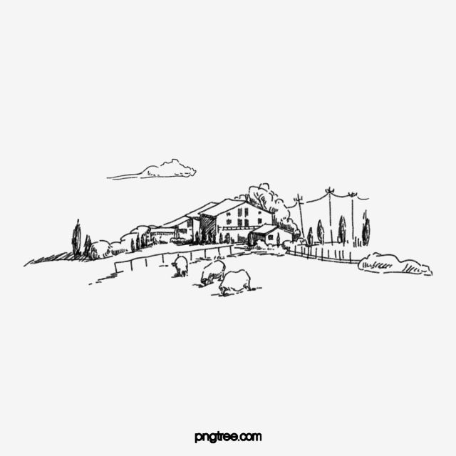 Black Line Drawing Hand Drawn Village Elements House Cloud White Clouds Png Transparent Clipart Image And Psd File For Free Download Line Drawing How To Draw Hands Drawings