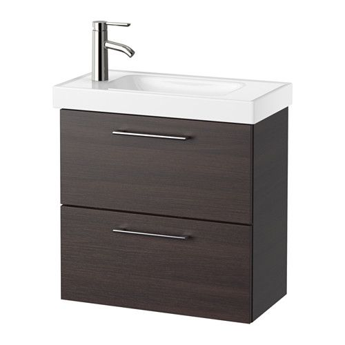 IKEA - GODMORGON / HAGAVIKEN, Sink cabinet with 2 drawers, black-brown, , Since…