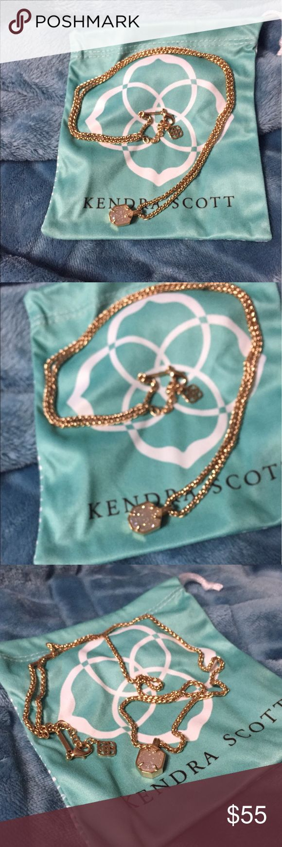 """Kendra Scott Drusy Oliver Necklace Kendra Scott Rose Gold Oliver Drusy Necklace. Purchased on here (worn twice). EUC. Necklace length max 28"""". Retail $75. Comes with dust bag Kendra Scott Jewelry Necklaces"""