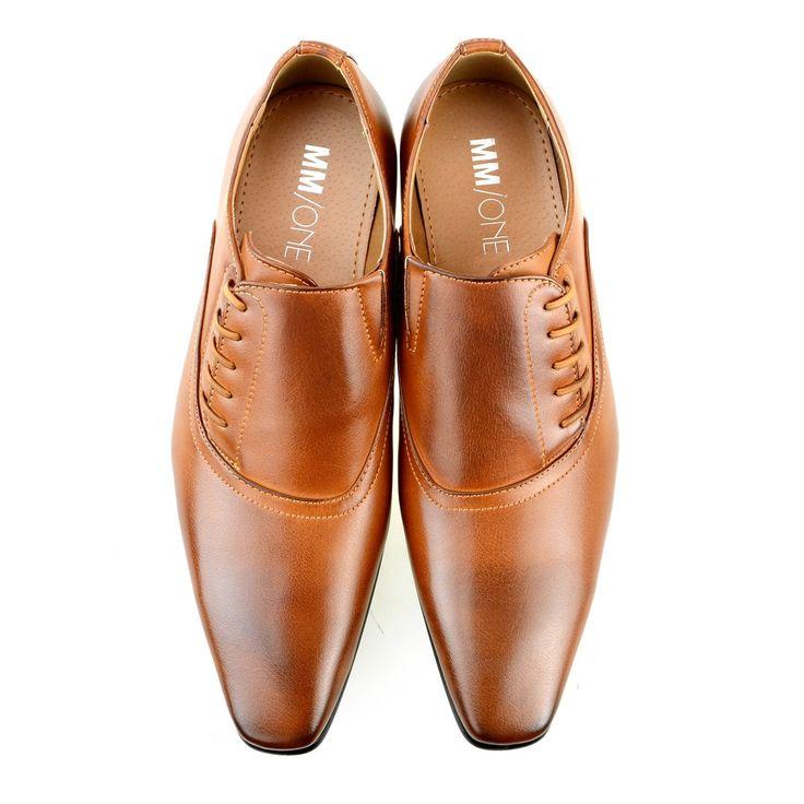 MM/ONE Oxford Men's Plain-toe Side Shoes Lace-up Dress Monk-