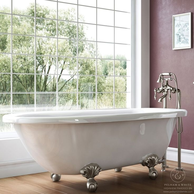 Pelham & White Luxury 54 Inch Clawfoot Tub with Nickel Ball and Claw Feet (Classic - Acrylic - White)
