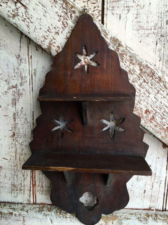 Antique wood shelf with stars knick knack 2 by LititzCarriageHouse