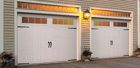 This steel garage door features a sonoma panel design, white paint for the exterior, windows and garage door hardware.  Learn more at http://www.wayne-dalton.com/residential/classic-steel/Pages/garage-door-model-9100-9600.aspx