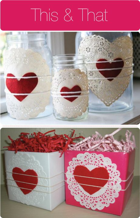 White doilies and red hearts on clear jars