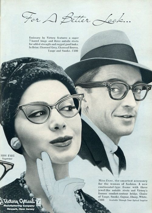 1959 eyeglass styles | Vintage Victory Eyewear: Miss Exec Comes Back Better Than Ever