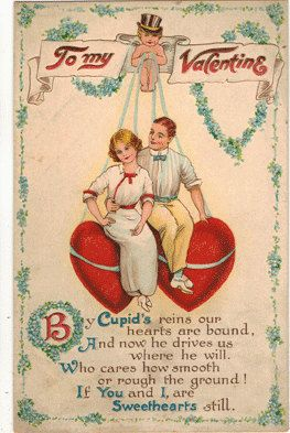 Vintage Valentine postcard, To My Valentine, Cupid Holding Heart Strings of Young Couple, ca 1910