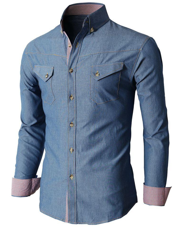 Doublju Men's Denim Slim Fit Button Down Shirts Of Various Design (KMTSTL0195) #doublju