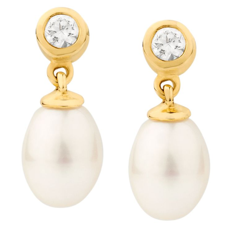 she might not like the idea of wearing cz but still its really pretty. - Drop Earrings with Cultured Freshwater Pearl & Cubic Zirconia in 10ct Yellow Gold