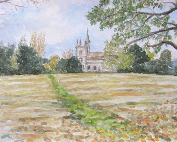 St. Leonard's Church, Oakley, Hampshire. Watercolour by Nigel Smith