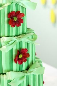 Cavanaugh Photography  round green wedding cake with flowers and ribbon | As seen on TodaysBride.com