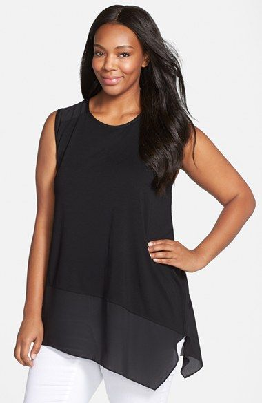 Vince Camuto Asymmetrical Hem Mixed Media Sleeveless Top (Plus Size) available at #Nordstrom