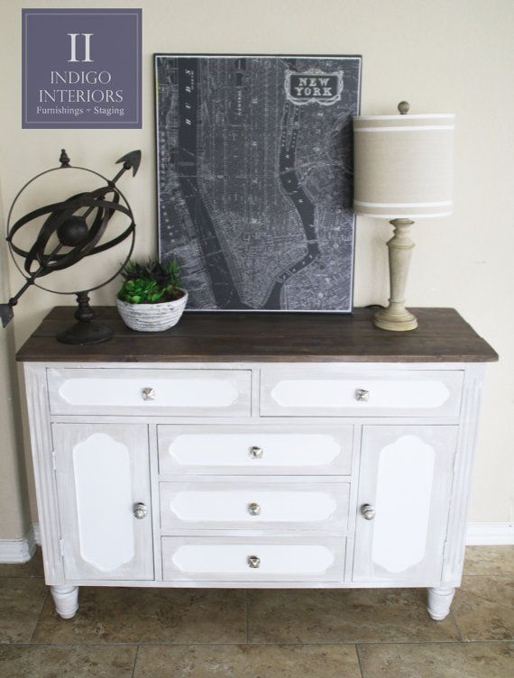 Gray And White Distressed Dresser Buffet Changing Table Or Media Console With Dark Brown Wood Plank Boards Furniture Re Vived