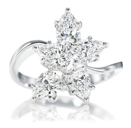 harry winston - 5 marquise and pear-shaped diamonds,  1.85 total carats; platinum setting.