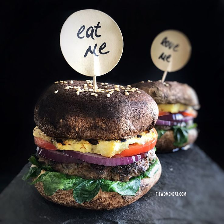 Portobello mushrooms as hamburger buns. 330 calories, 30g protein, 23g carbs, 14g fat per burger. Perfect for low carb or no carb diet!