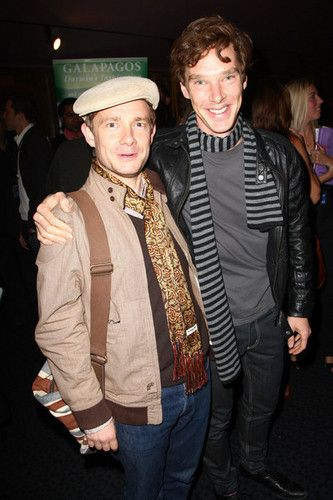 Martin Freeman & Benedict Cumberbatch. They both have scarves!!! How cute :)