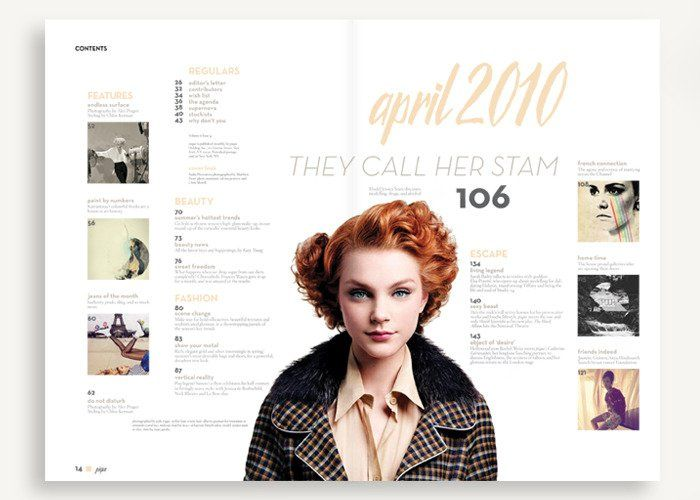 Payload combines a variety of typefaces in its Table of Contents, building hierarchy within sections. The entire composition revolves around one point, in this case a beautiful woman, likely the subject of the feature article of the magazine.