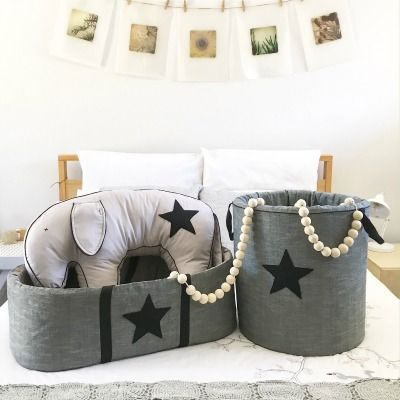 Nursery starter kit by Tiger Lily Tots...carry cot, toy barrel and feeding cushion