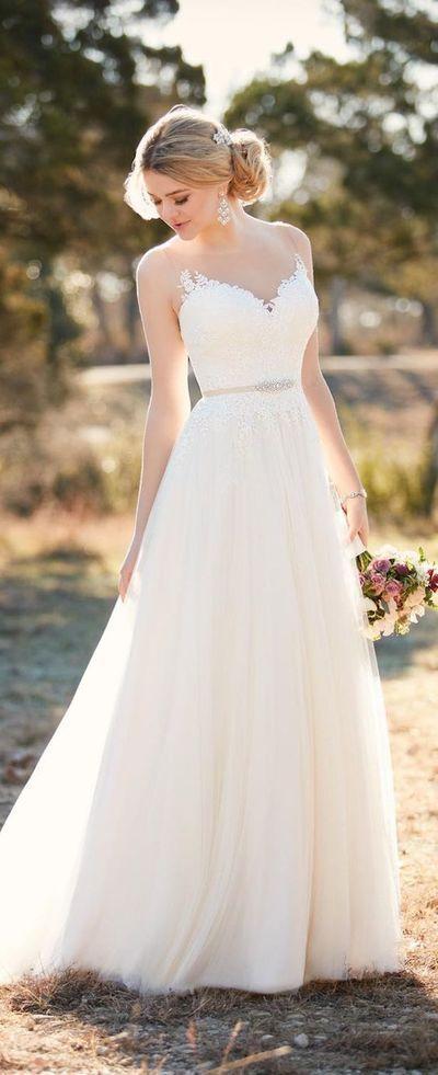 V-neck wedding dress, beautiful bridal gown, elegant bridal gown, pure bridal gown, PD00427 by warmthhouse