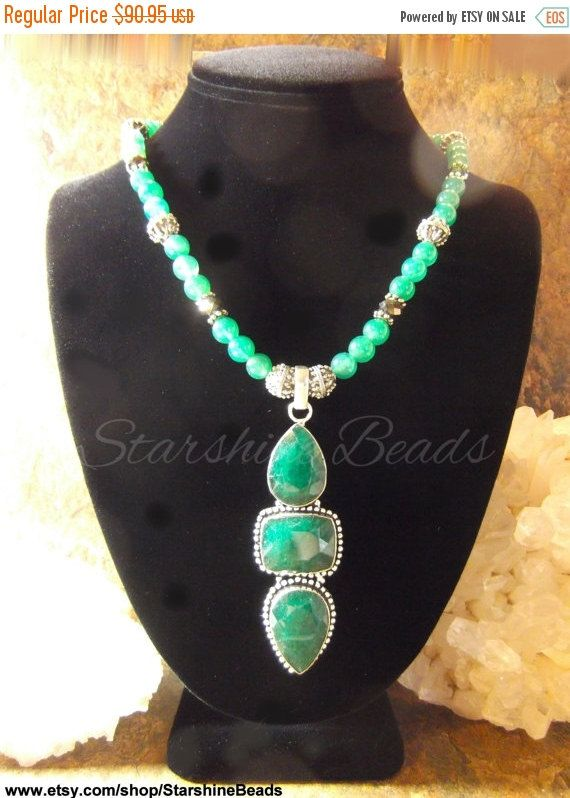 ON SALE Emerald & Green Onyx Necklace  Emerald by StarshineBeads
