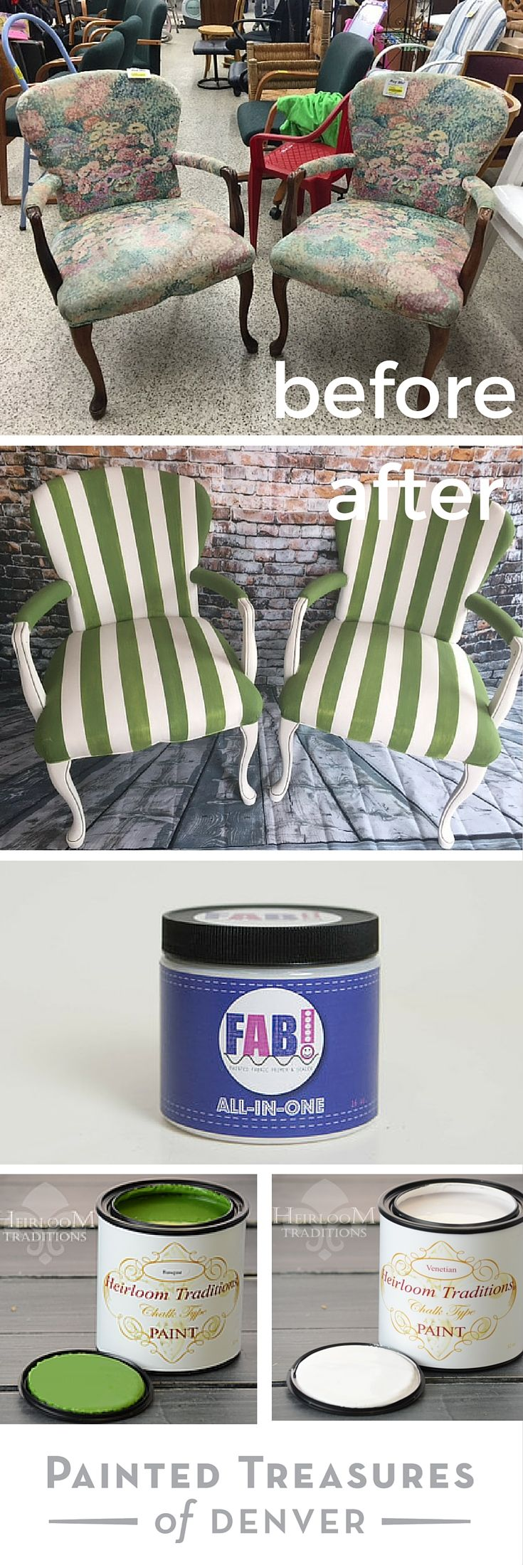 You can paint fabric and upholstery using FAB! Check out my chair makeover using Heirloom Traditions FAB! Primer and sealer. I painted them with chalk type paint in Venetian and Basque and planned out the stripes using frogtape. Now they are modern geometric chairs. No more ugly upholstery. Get 10% off using PAINTEDTREASURES promo code at checkout.