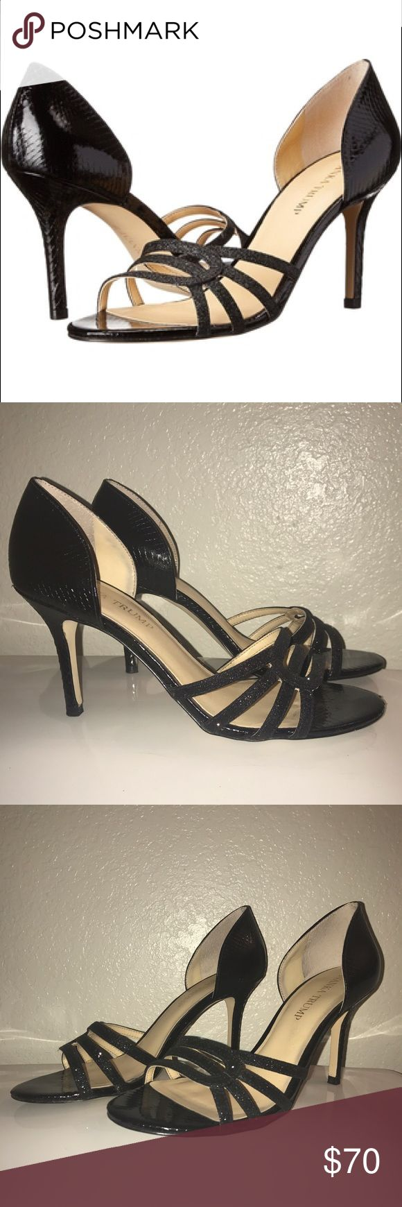 """Ivanka Trump Lady2 Sandal Worn once and in excellent condition!  Sophisticated, shimmering glitter and snake-embossed leather combine brilliantly in this versatile dress sandal. * Leather/glitter over leather upper, manmade lining, manmade sole * Open strappy toe with glitter straps * Round toe * Slip on * Snake-embossed leather back * 3.75"""" heel Ivanka Trump Shoes Heels"""