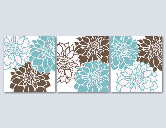 Teal Brown Bedroom Wall ArtBlue Brown Floral by SweetBloomsDecor
