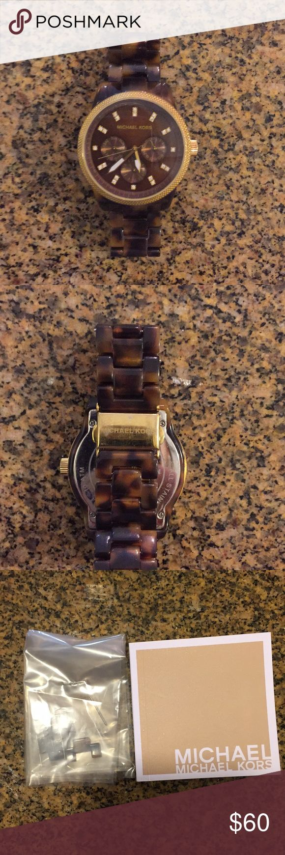Michael Kors Tortoise Shell Watch Used watch - minor scratches from daily wear, but really not visible unless you look closely. The battery needs to be replaced as it hasn't been used in a year or so. Great accessory with any outfit! Comes with original box, info booklet and extra links! Michael Kors Accessories Watches