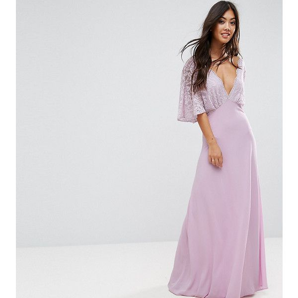 John Zack Petite Open Back Maxi Dress With Fluted Lace Sleeve (103 AUD) ❤ liked on Polyvore featuring dresses, petite, purple, lace-sleeve dresses, v neck maxi dress, purple maxi dresses, petite party dresses and party dresses