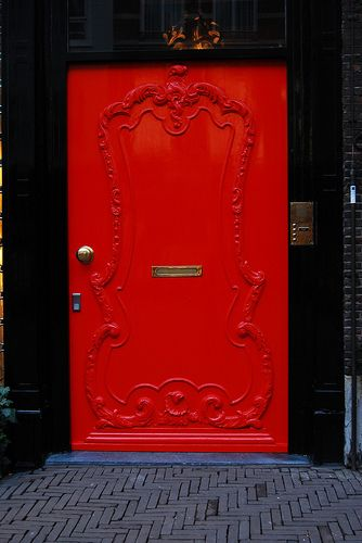 Love the raised scrolling. Beautiful and fun!: Red Doors, The Doors, Black Doors, Black Doorway, Doors Windows, Front Doors Color, Doors Numbers, Bright Red, Beauty Doors