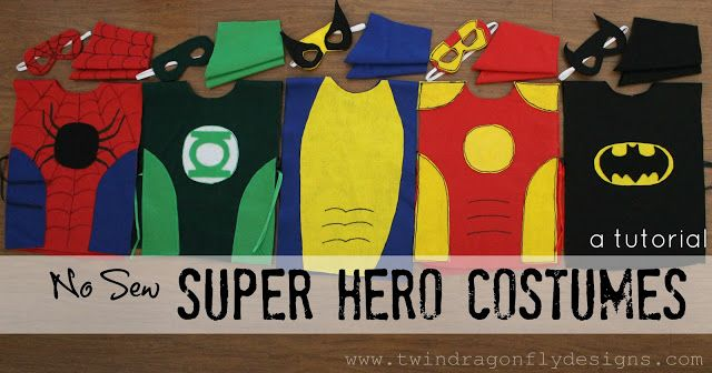 DIY no sew superhero costumes - must make for the boys' dress-up trunk! May have to make larger sizes for their comic book collecting grandfather :)