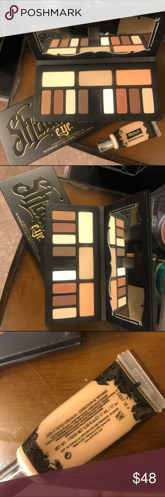 Kat  Von D Shade and Light Palette/ Concealer Bundle of kat von d shade and light eye shadow palette and lock it tattoo concealer in light 16. Palette very lightly used (some colors untouched) Kat Von D Makeup Eyeshadow