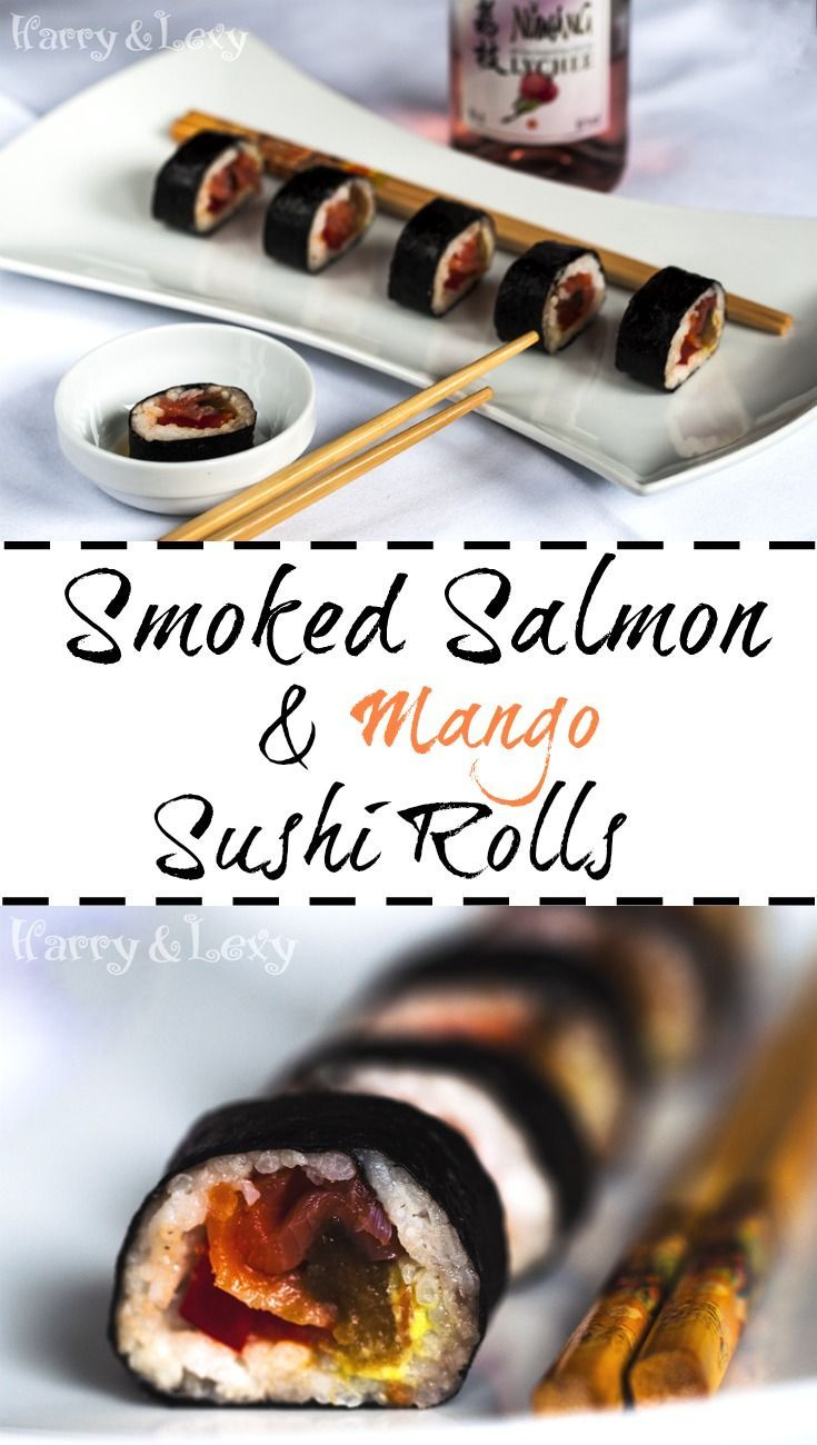 Smoked Salmon and Mango Sushi Rolls - a step by step recipe with pictures. Sushi is actually super easy to make! :)