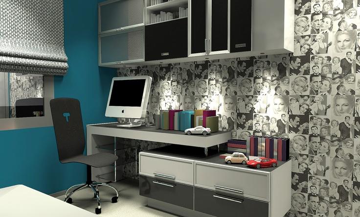 parkstudio kurumsal mimari proje kapsamında iç mekan mimari tasarım. studio daire formatindeki ev içinde çalışma odası genç odası tarzında da bir oda tasarlandı
